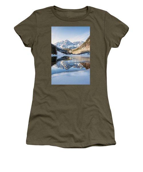 Maroon Bells Reflection Winter Women's T-Shirt