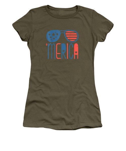 Merica American Flag Aviators Toddler Tshirt 4th July White Women's T-Shirt