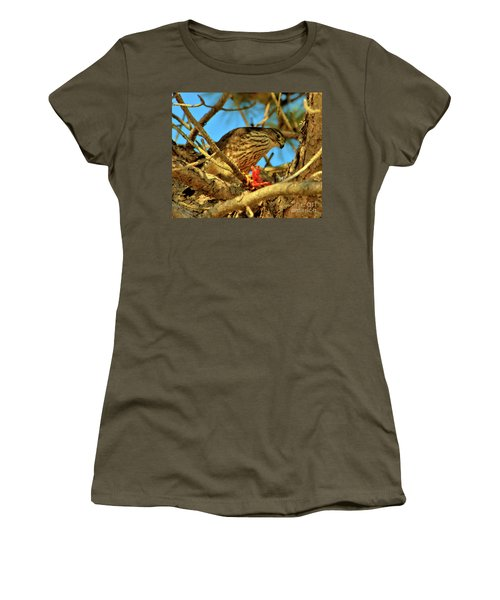 Women's T-Shirt featuring the photograph Merlin Eating Breakfast by Debbie Stahre