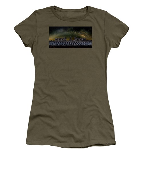 Women's T-Shirt featuring the photograph Milky Way Arch Over Chinese Temple Roof by William Dickman
