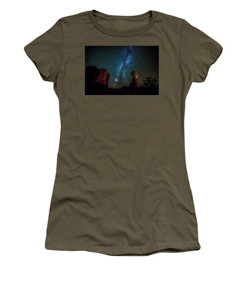 Women's T-Shirt (Athletic Fit) featuring the photograph Milky Way Over Balanced Rock by David Morefield