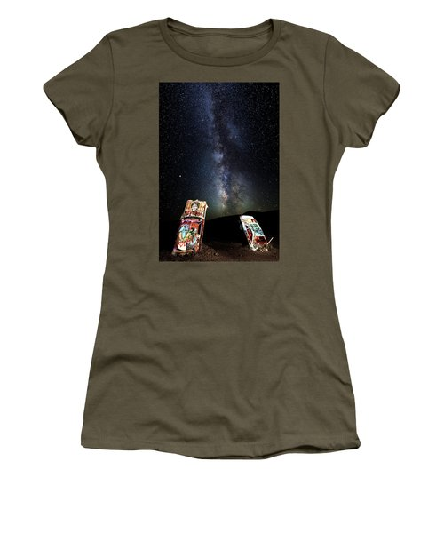 Milky Way Over Mojave Desert Graffiti 1 Women's T-Shirt