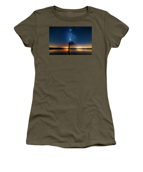 Women's T-Shirt (Athletic Fit) featuring the photograph Milky Way Swamp by Andy Crawford