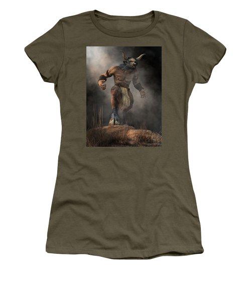 Women's T-Shirt featuring the digital art Minotaur by Daniel Eskridge