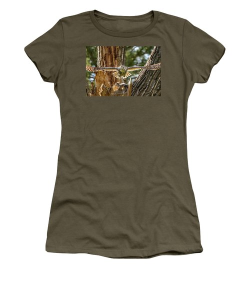 Momma Great Horned Owl Blasting Out Of The Nest Women's T-Shirt