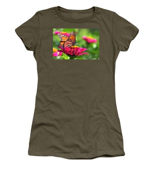 Monarch Visiting Zinnia Women's T-Shirt