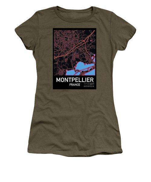 Montpellier City Map Women's T-Shirt