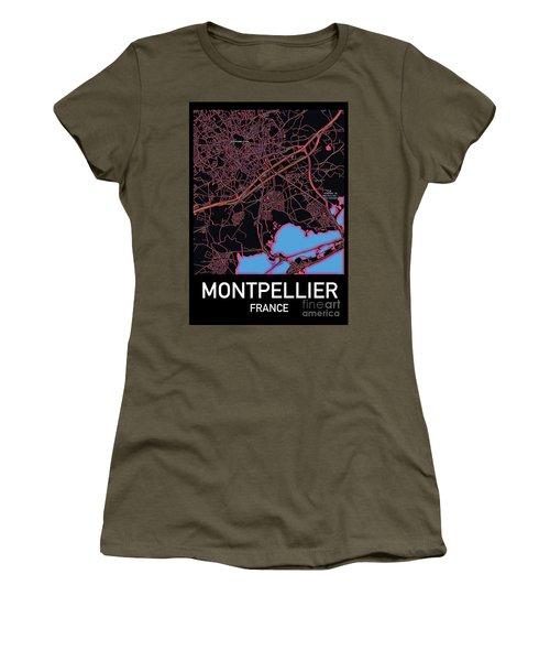 Montpellier City Map Women's T-Shirt
