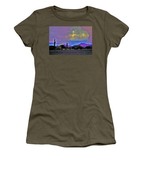 Moon At Sunset In The Desert Women's T-Shirt