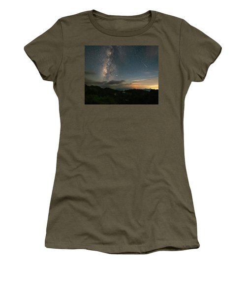 Women's T-Shirt featuring the photograph Moonset Milky Way And Shooting Star by William Dickman