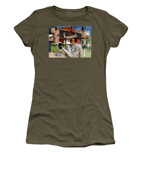 Women's T-Shirt featuring the painting More Thro The Window On The World by Val Byrne