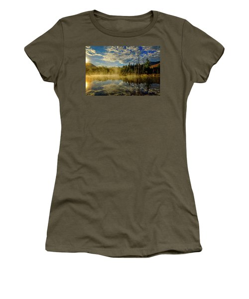 Women's T-Shirt featuring the photograph Morning Mist, Wildlife Pond  by Jeff Sinon