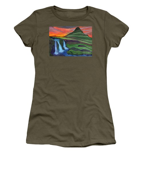Mountain And Waterfall In The Rays Of The Setting Sun Women's T-Shirt