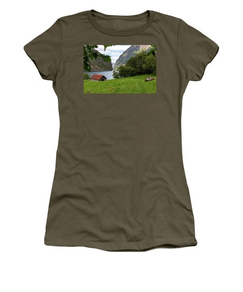 Women's T-Shirt featuring the photograph Naeroyfjord, Norway by Andreas Levi