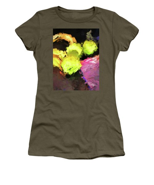Neon Apples With Bananas Women's T-Shirt (Athletic Fit)