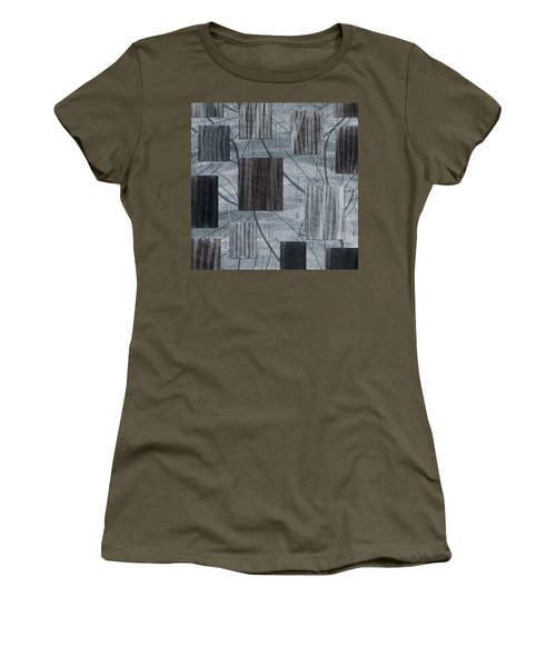 Neutral Toned Leaf Square Print Women's T-Shirt