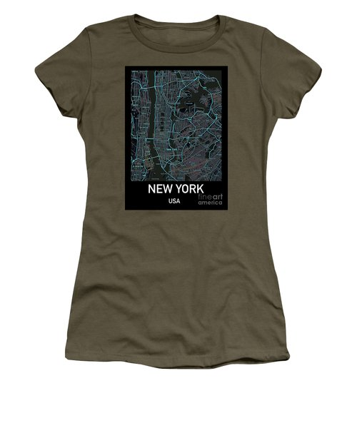 New York City Map Black Edition Women's T-Shirt