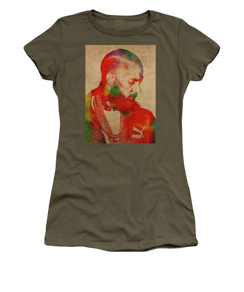 Nipsy Hussle Watercolor Portrait 3 Women's T-Shirt