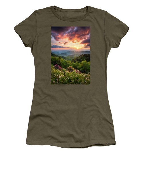 North Carolina Great Smoky Mountains Sunset Landscape Cherokee Nc Women's T-Shirt