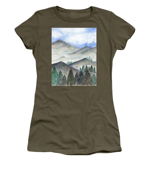 Women's T-Shirt featuring the painting November Mountains by Betsy Hackett