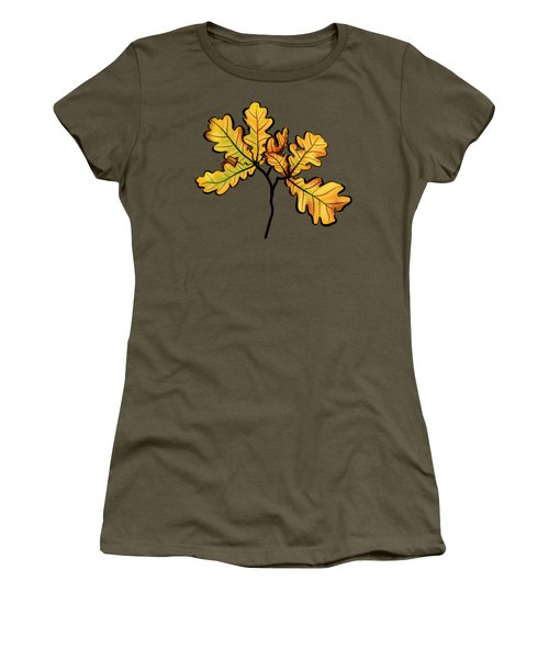 Oak Leaves Autumnal Botanical Art Women's T-Shirt