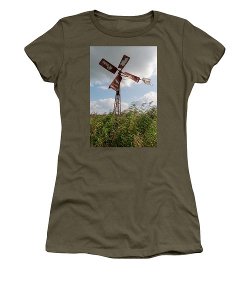 Women's T-Shirt featuring the photograph Old Rusty Windmill. by Anjo Ten Kate