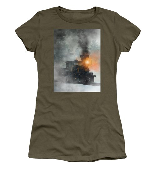 Women's T-Shirt featuring the digital art Old West Steam Train  by Daniel Eskridge