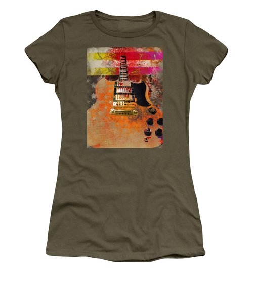 Women's T-Shirt featuring the digital art Orange Electric Guitar And American Flag by Guitar Wacky