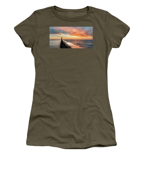 Orange Skies Over Frankfort Lighthouse Women's T-Shirt