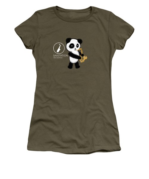 Panda Playing Saxophone Women's T-Shirt