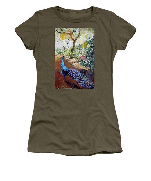 Peacock On Path Women's T-Shirt