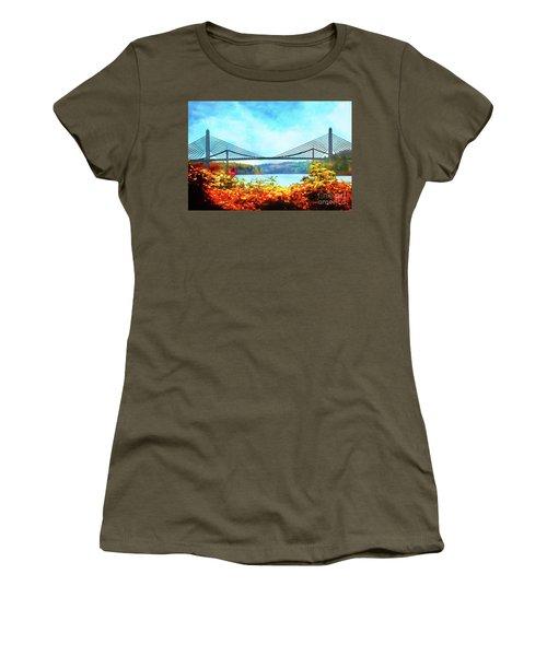 Penobscot Narrows Bridge In Autumn Women's T-Shirt