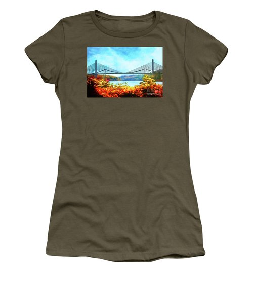 Penobscot Narrows Bridge In Autumn Women's T-Shirt