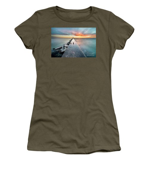 Pier Sunset In Frankfort Women's T-Shirt