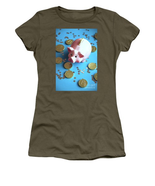 Piggy Bank On The Background With The  Chocoladen Coins Women's T-Shirt