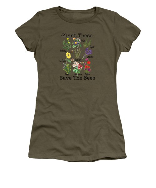 Plant These Save The Bees Shirt Women Yellow Flowers Women's T-Shirt