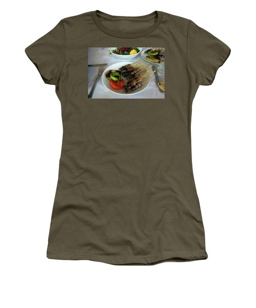 Plate Of Kebabs And Salad For Lunch Women's T-Shirt