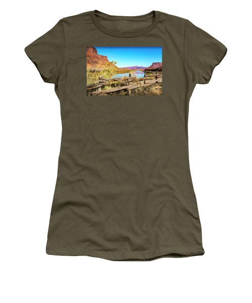 Women's T-Shirt (Athletic Fit) featuring the photograph Red Cliffs Canyon by David Morefield