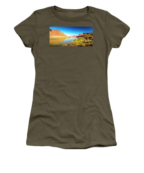Women's T-Shirt (Athletic Fit) featuring the photograph Red Cliffs Canyon Panoramic by David Morefield