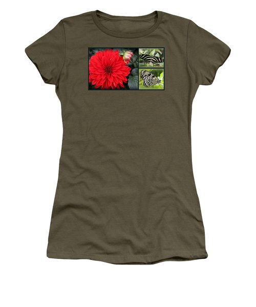 Red Dahlia And Butterflies - A Collage Women's T-Shirt