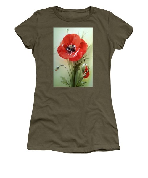 Red Poppy Flower With Bud Women's T-Shirt