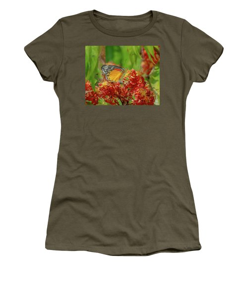 Women's T-Shirt featuring the photograph Red-spot Jezebel Butterfly Dthn0236 by Gerry Gantt