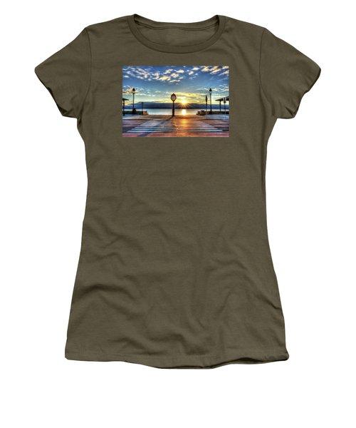 Revere Beach Clock At Sunrise Angled Long Shadow Revere Ma Women's T-Shirt