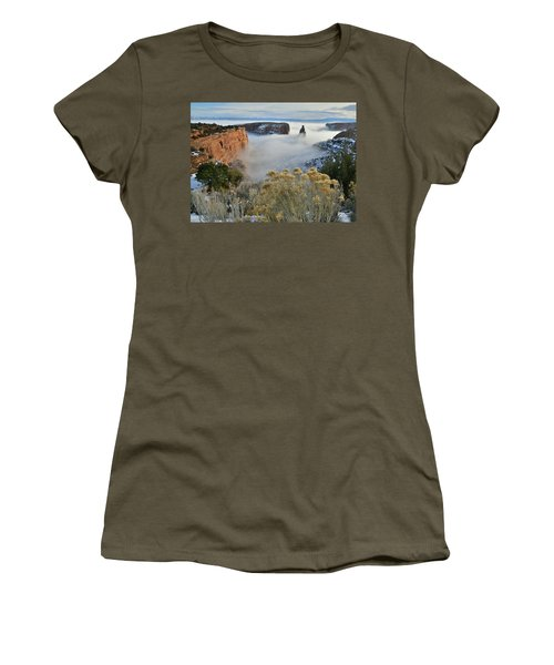 Rim Rock Drive View Of Fogged Independence Canyon Women's T-Shirt