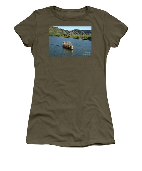 Women's T-Shirt featuring the photograph Roman Warship On The Mosel by PJ Boylan