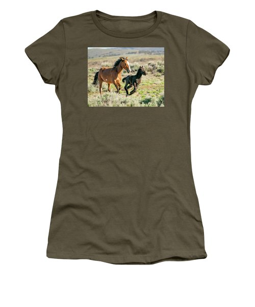Running Wild Mustangs - Mom And Baby Women's T-Shirt