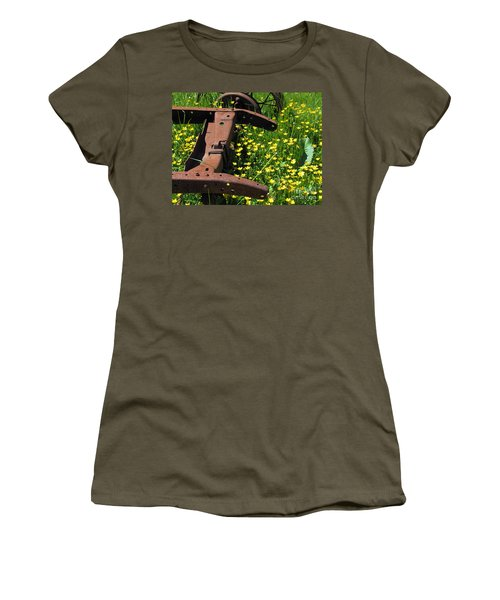 Rusted Wagon In A Field Of Flowers Women's T-Shirt