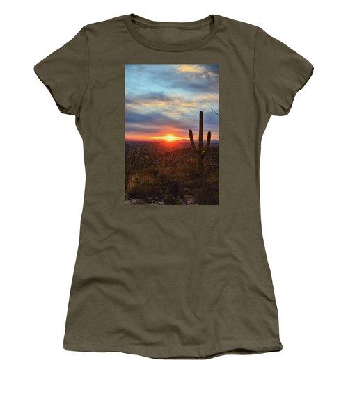 Saguaro Cactus And Tucson At Sunset Women's T-Shirt