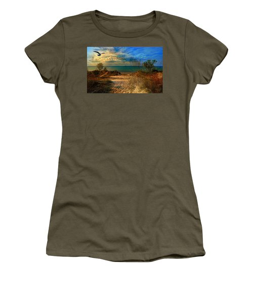 Sand Track To The Ocean At Dusk Women's T-Shirt