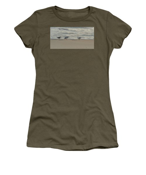 Women's T-Shirt featuring the photograph Sanderlings At Assateague Island National Seashore I 1x2 by William Dickman